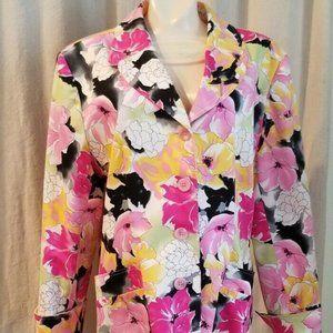Laura Scott Jacket Women's Size 18 Floral Pink
